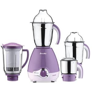 Preethi Lavender Pro 600-Watt Mixer Grinder (White/Purple)