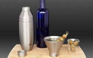 SNOWFOX Insulated Stainless Steel Margarita and Martini Cocktail, Glasses, Set of 2, Olive Grey, Set