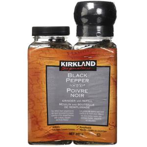 Kirkland Signature Black Pepper Adjustable Grinder with Refill, Black Pepper Adjustable Grinder