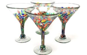 Mexican Hand Blown Glass – Set of 4 Hand Blown Modern Margarita Glasses
