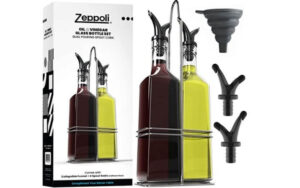 Zeppoli Oil and Vinegar Bottle Dispenser Set with Stainless Steel Rack and Removable Cork [2-Pack] - Dual Spout, Pouring Funnel, 4 Spout Seals, 17 oz Olive Oil Bottle and Vinegar Glass Set (1)