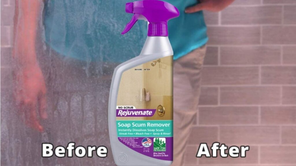 Rejuvenate Scrub Free Soap Scum Remover Shower Glass Door Cleaner Works on Ceramic Tile, Chrome, Plastic, and More 24oz